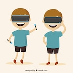 Set of boy playing with virtual reality