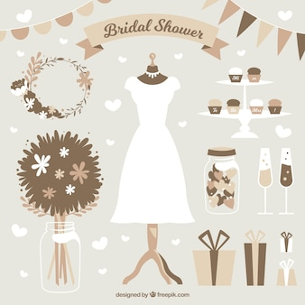 Set of bridal shower items in brown tones