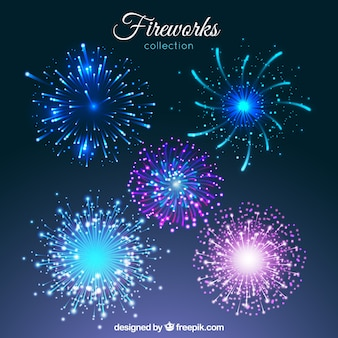 Set of bright colored fireworks