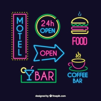 Set of bright neon signs
