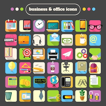 Set of business and office icons
