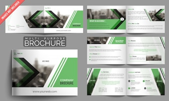 Set of business brochures with green elements