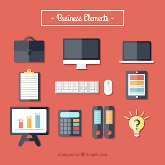 Set of business supplies in flat design