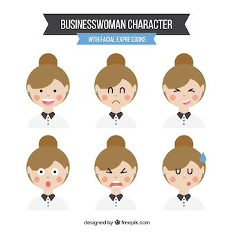 Set of business woman expressions