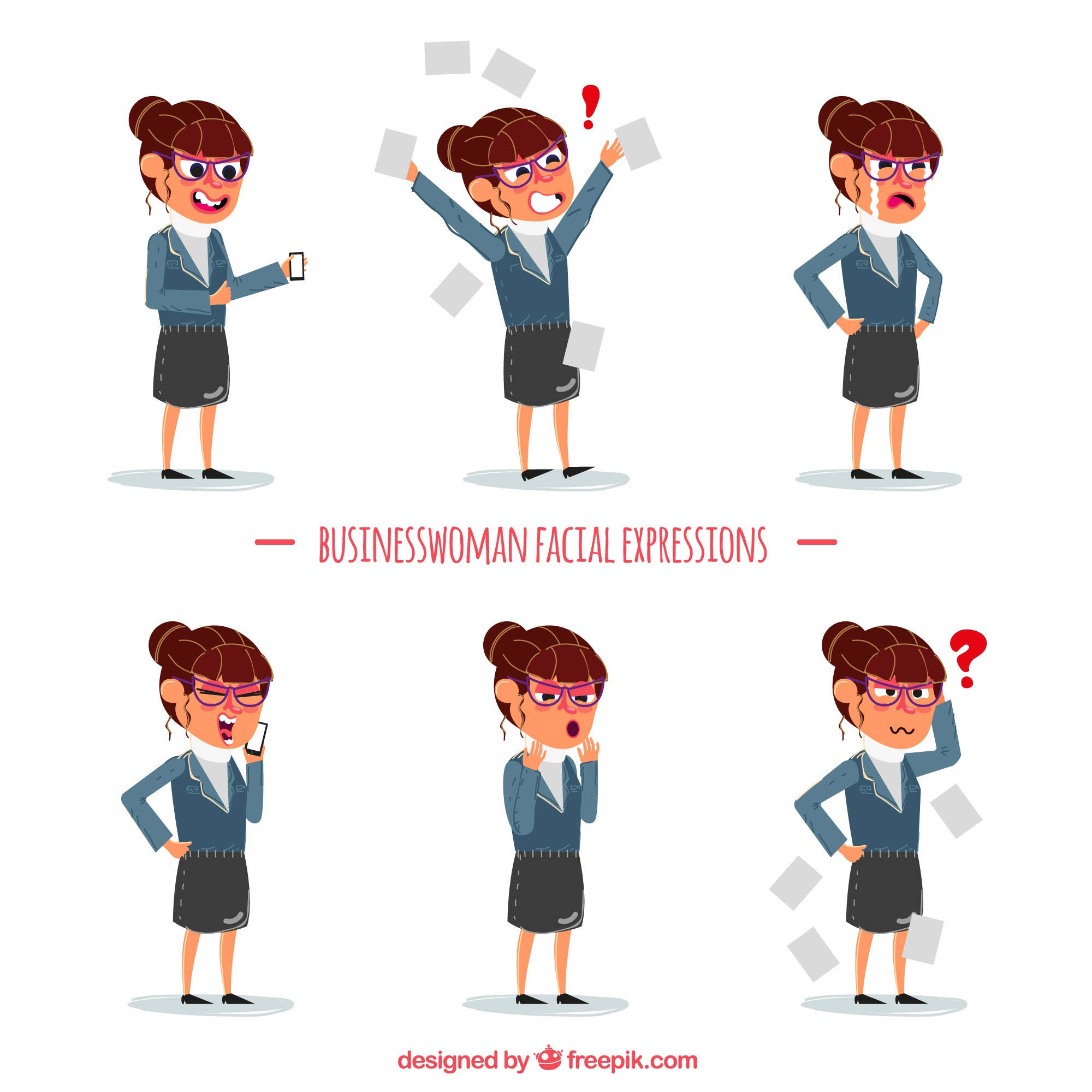 Set of business woman with expressions