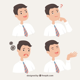 Set of businessman character with different expressions