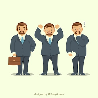 Set of businessman character with three expressive gestures
