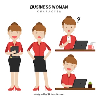 Set of businesswoman character with facial gestures