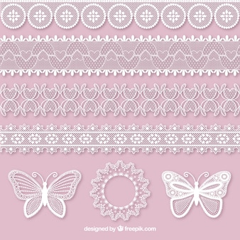 Set of butterflies and lace decorative borders