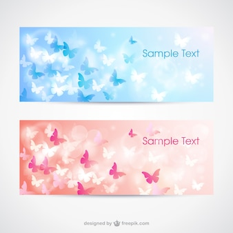 Set of butterflies banners