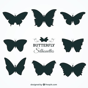 Set of butterfly silhouettes with variety of designs