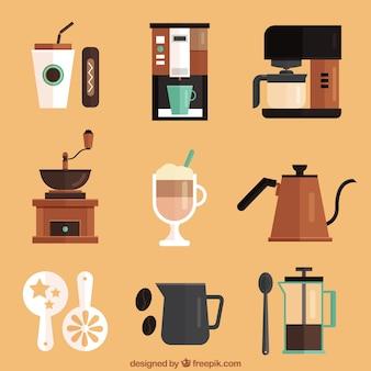 Set of cafe elements in flat design