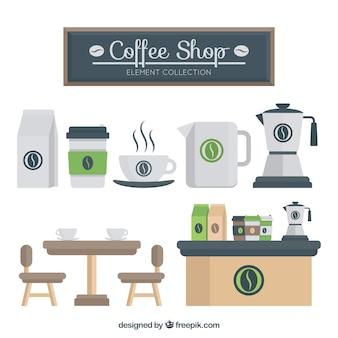Set of cafeteria elements in flat design