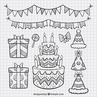 Set of cake sketches and birthday elements