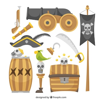 Set of cannon and pirate elements