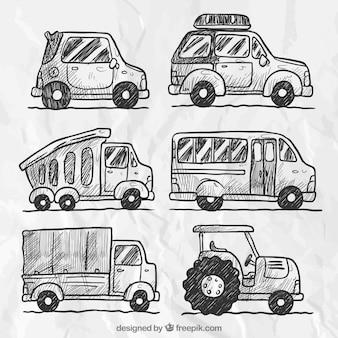 Set of car sketches