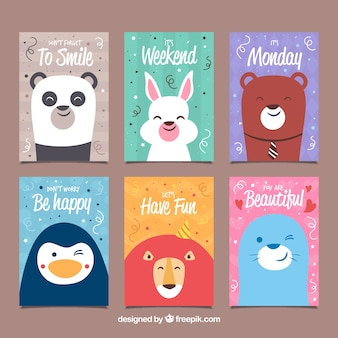 Set of cards with happy animals at party