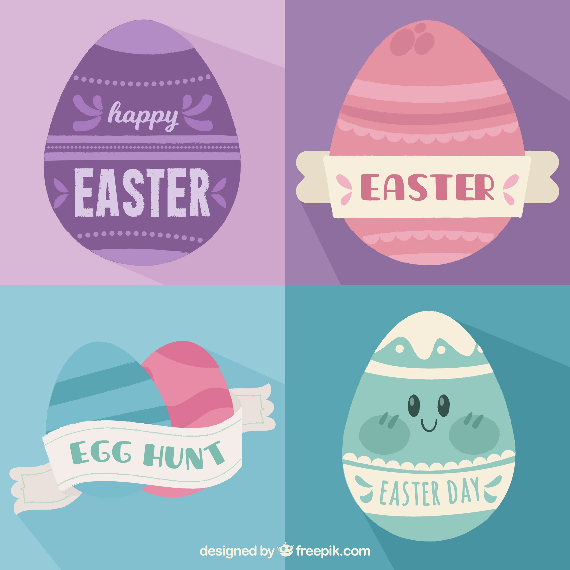 Set of cards with pastel color easter eggs