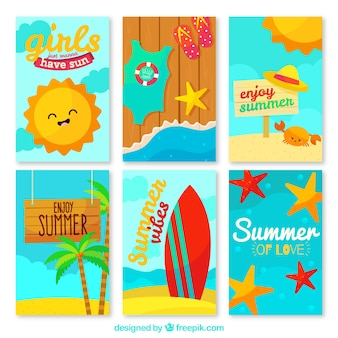 Set of cards with summer elements