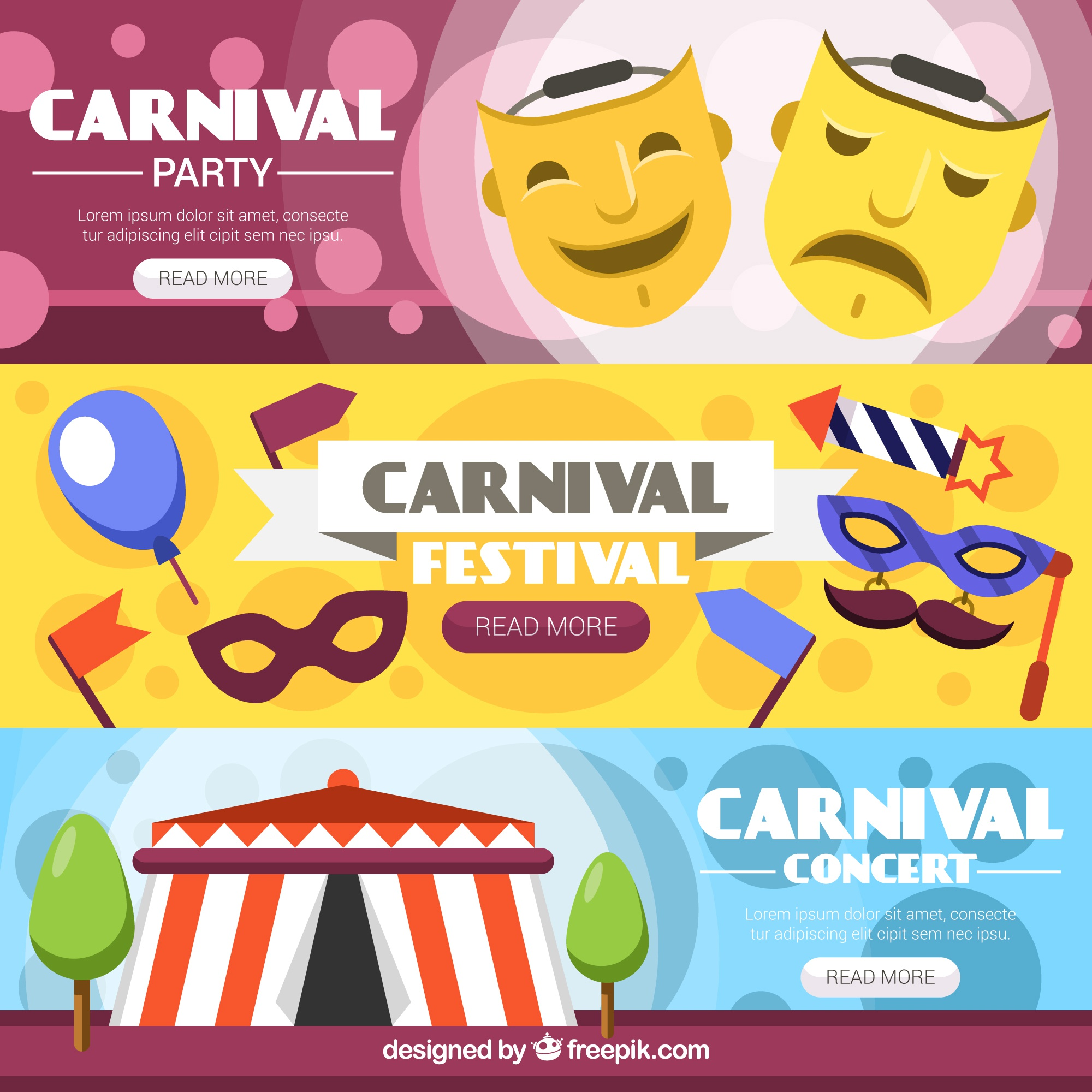 Set of carnival and circus banners