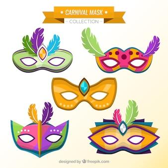 Set of carnival colorful masks