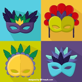 Set of carnival decorative masks