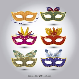 Set of carnival masks with different designs