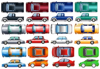Set of cars and trucks in many colors illustration
