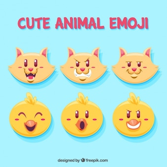 Set of cat and chick emoticons