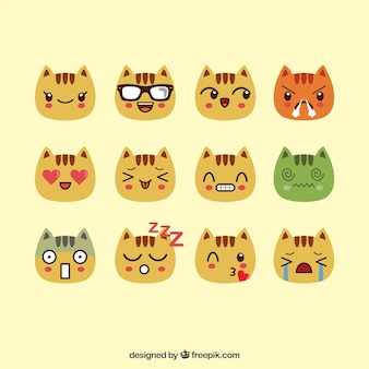 Set of cat emoticons with fantastic expressions