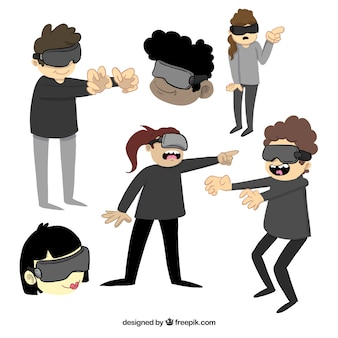 Set of characters having fun with virtual glasses