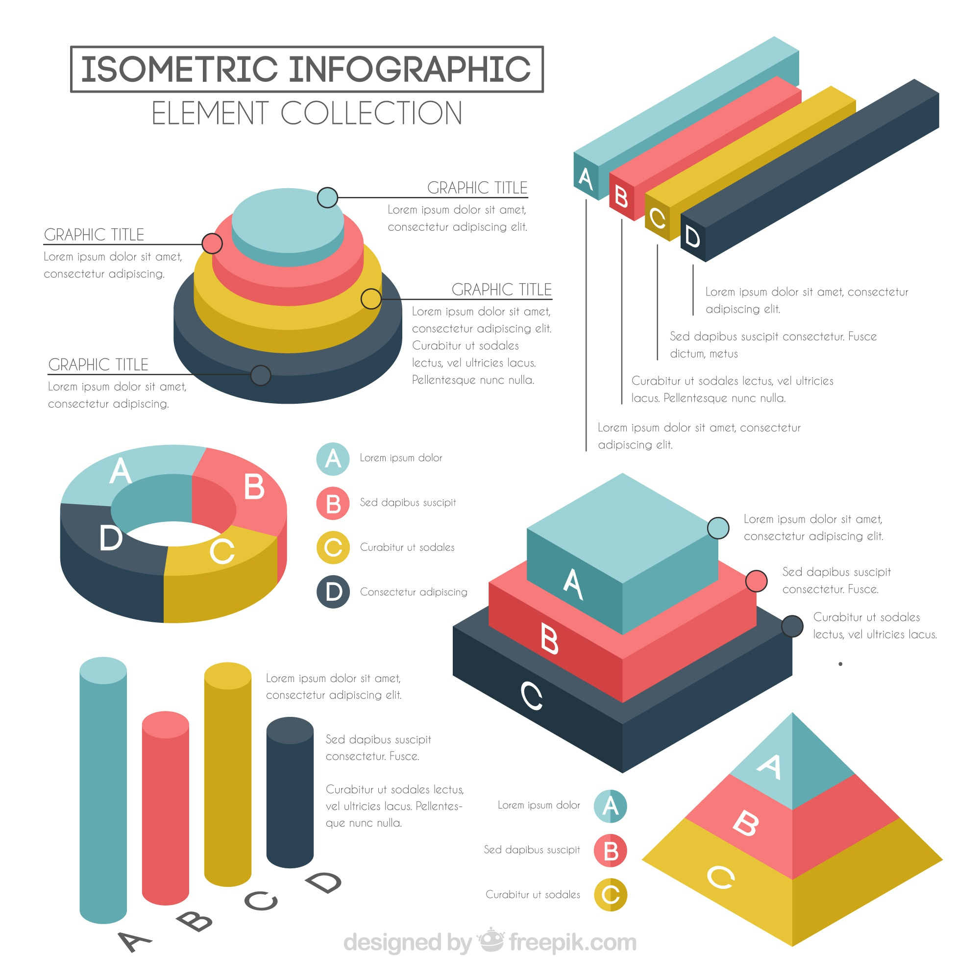 Set of charts in isometric style