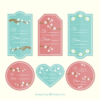 Set of cherry blossom japanese tags in flat design