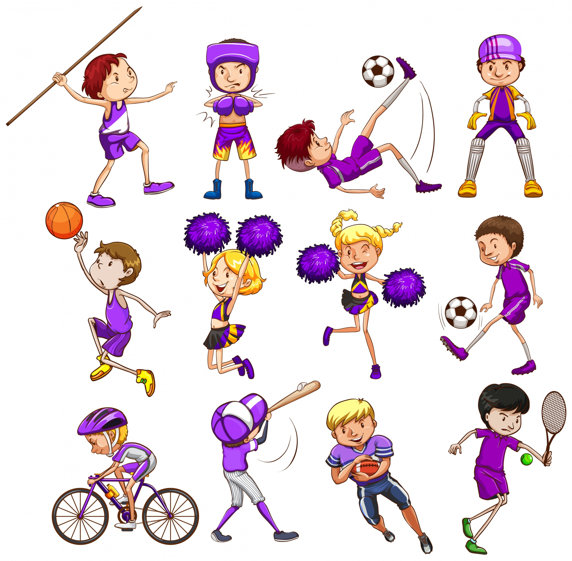 Set of children playing different kinds of sports