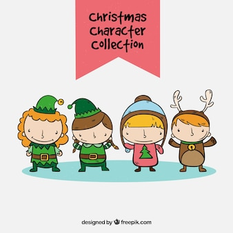 Set of children with christmas costumes