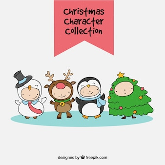 Set of children with hand drawn christmas costumes