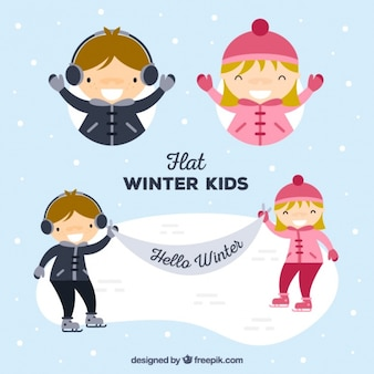Set of children with winter clothes and skates