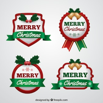 Set of christmas badges