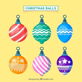 Set of christmas balls in vintage style