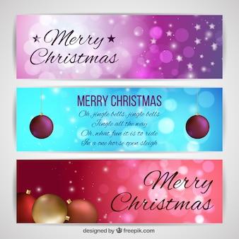 Set of christmas bokeh banners
