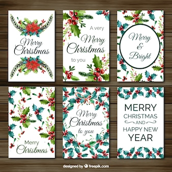 Set of christmas cards with watercolor mistletoe