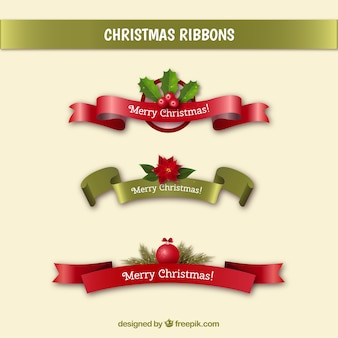 Set of christmas messages ribbons in realistic style