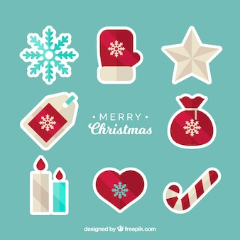 Set of christmas stickers in flat design
