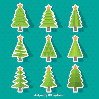 Set of christmas tree stickers