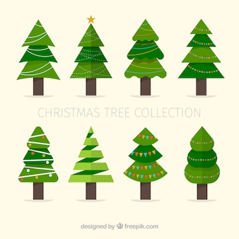 Set of christmas trees in flat design