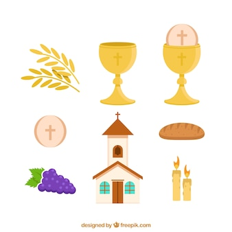 Set of church and objects of first communion