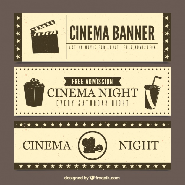 Set of cinema banners in retro style