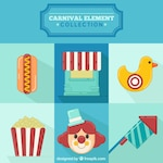 Set of circus elements in flat design