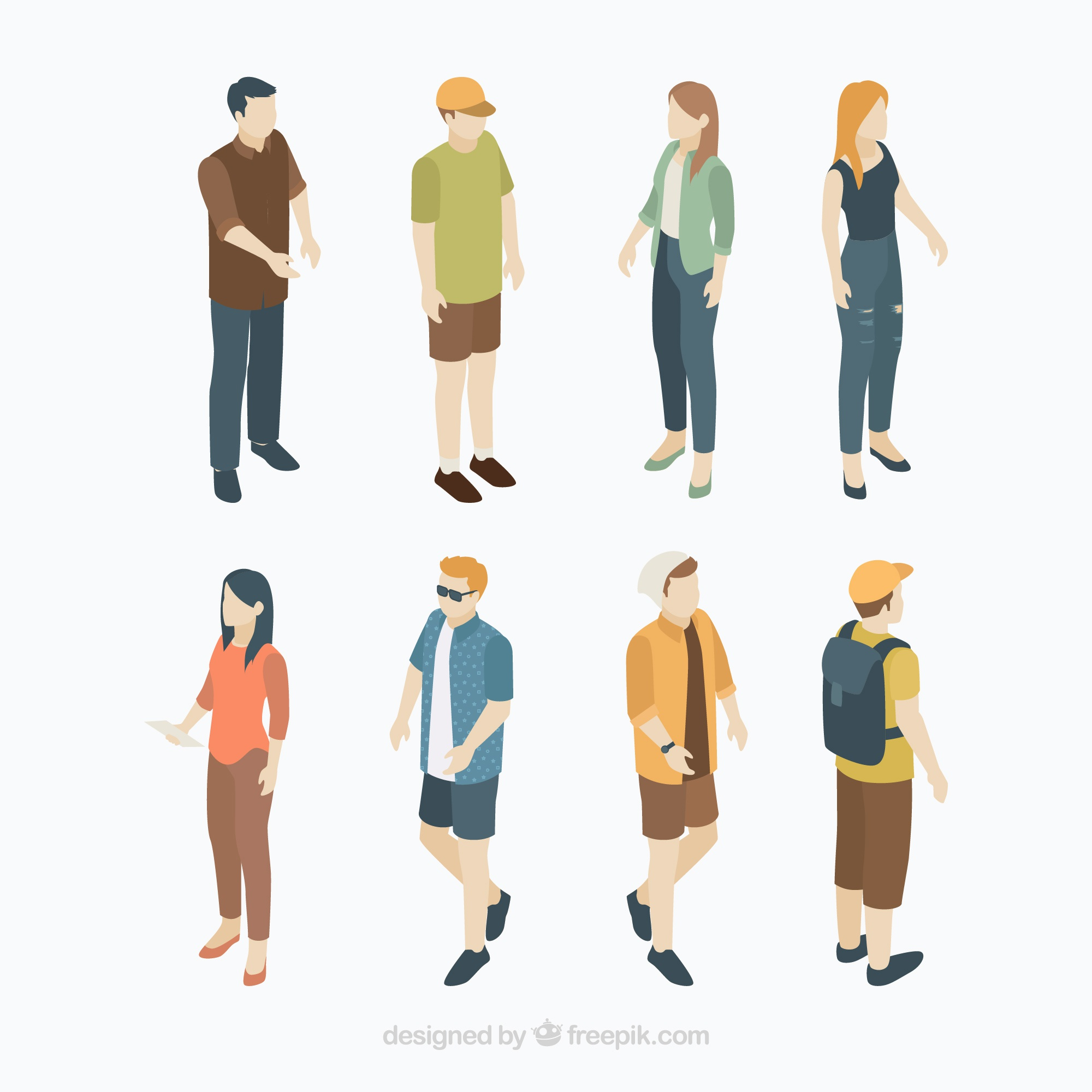 Set of citizens in isometric perspective