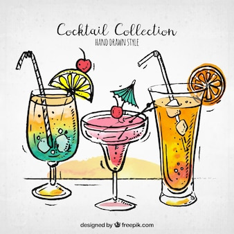 Set of cocktail sketches